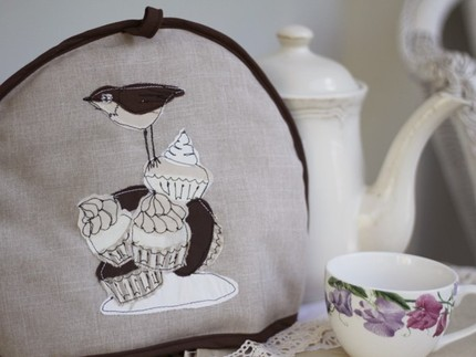 Bird Cake embroidered tea cozy  by tabidesigns