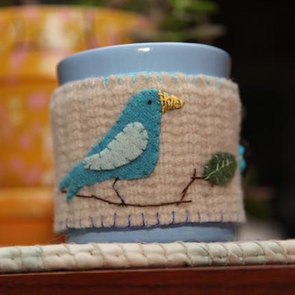 Blue Bird Felted Wool Coffee Cozy  by FruitOfMyHands