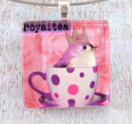 RoyalTea (pink&purple) pendant  by hippiechicboutique