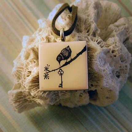 The Key cut paper pendant  by ruralpearl