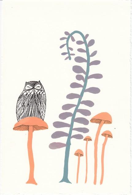 Owl, Mushroom, Fern  by unitedthread