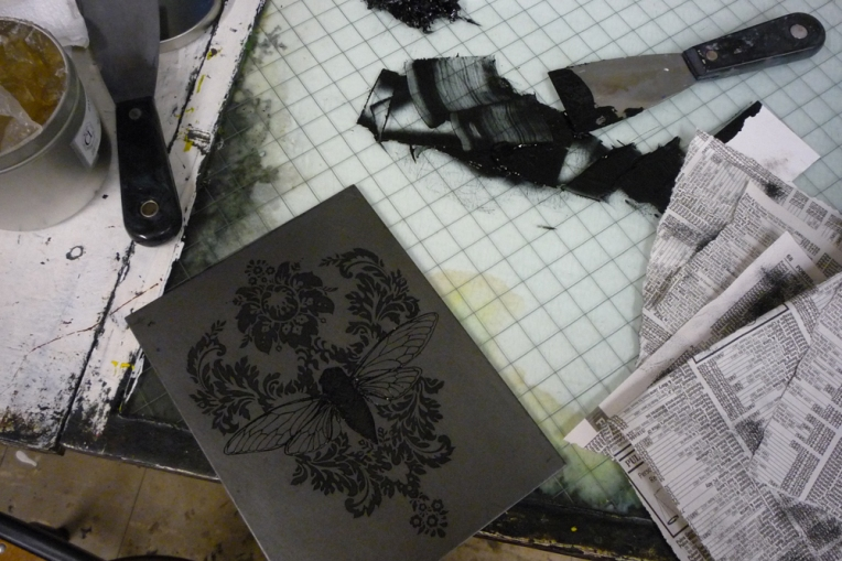 Inked plate-- I proofed it in black, so it looks especially dark; the actual prints will be a medium sepia tone.