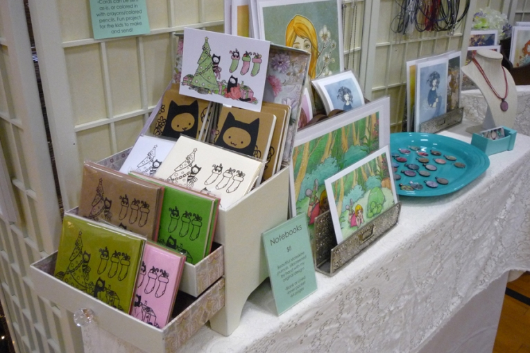 Some of my cards, displayed in a repurposed jewelry box