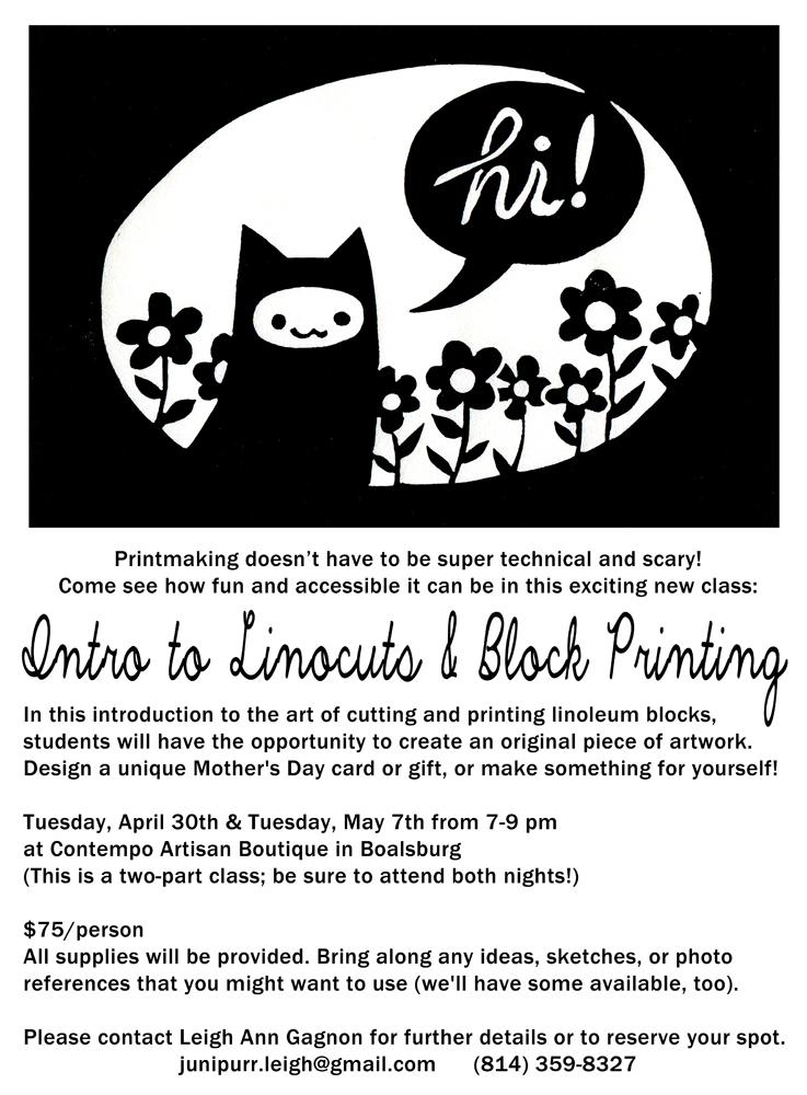 linocut class cat flyer2