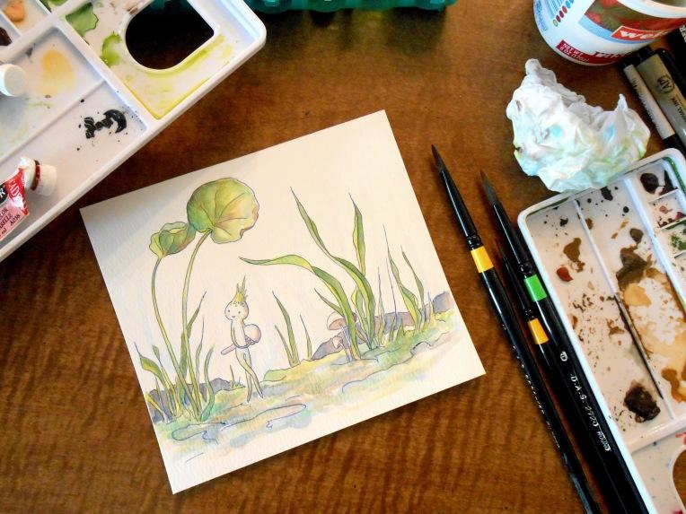 mushroom gatherer painting 1