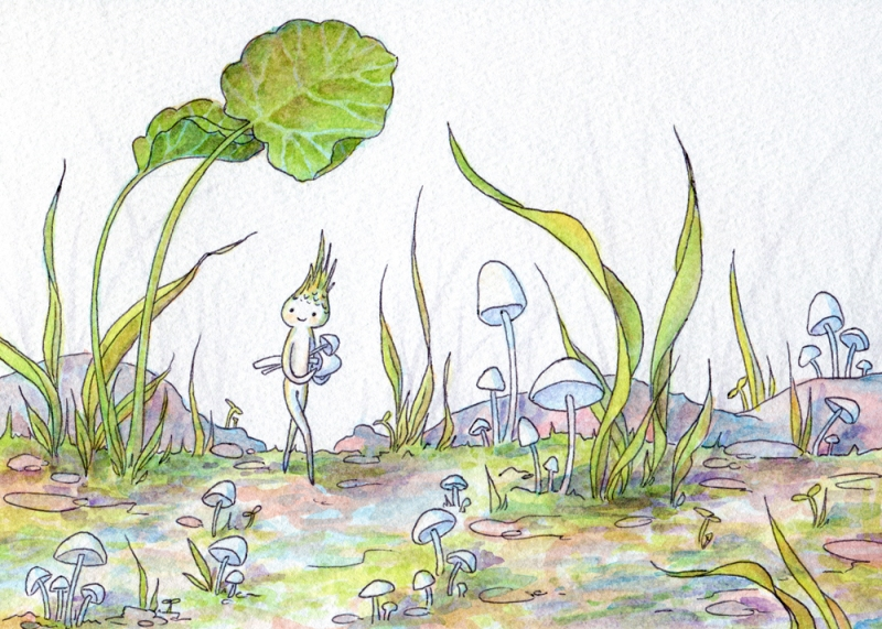 Mushroom Gatherer. Watercolor & ballpoint, 5x7. 2014.