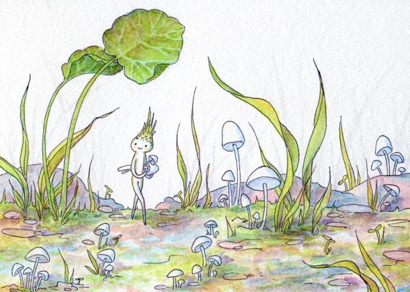 Mushroom Gatherer. Watercolor & ballpoint, 5x7. 2014.